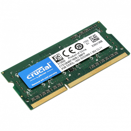 Crucial RAM 4GB DDR3L 1600 MT/s (PC3-12800) CL11 SODIMM 204pin 1.35V/1.5V Single Ranked