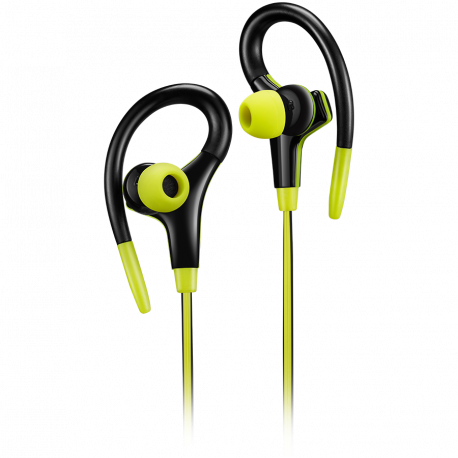 Canyon stereo sport earphones with microphone 1.2m flat cable lime