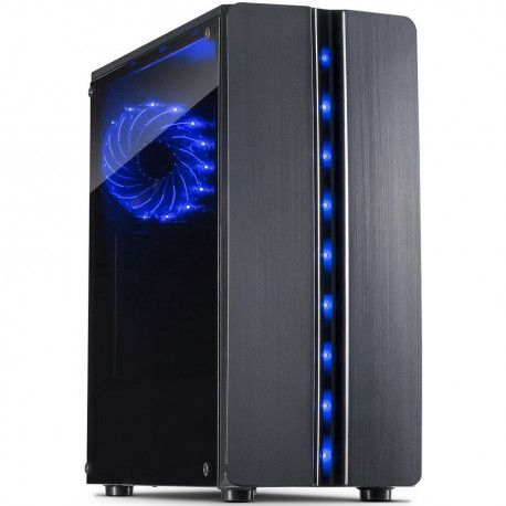 Chassis INTER-TECH Thunder Gaming Midi Tower ATX 1xUSB3.0 2xUSB2.0 HD audio PSU optional Window side