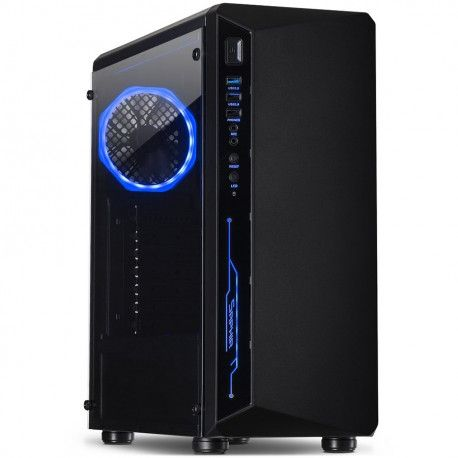 Chassis INTER-TECH C-3 SAPHIR Gaming Midi Tower ATX 1xUSB3.0 2xUSB2.0 audio PSU optional Tempered glass