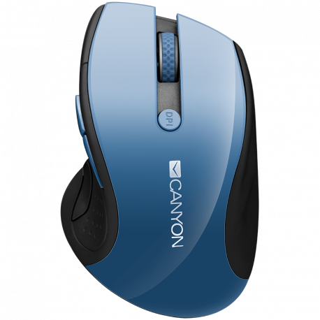 CANYON 2.4Ghz wireless mouse optical tracking - blue LED 6 buttons DPI 1000/1200/1600 Blue Gray