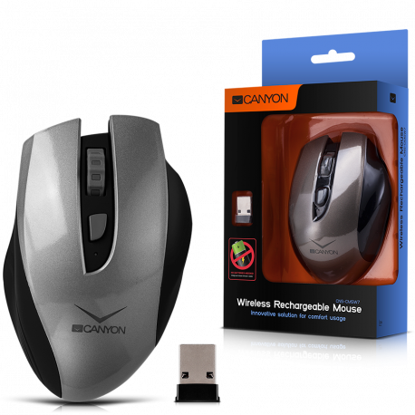 CANYON 2.4GHz Wireless Rechargeable Mouse with 4 buttons innovative solution for comfort usage requires no