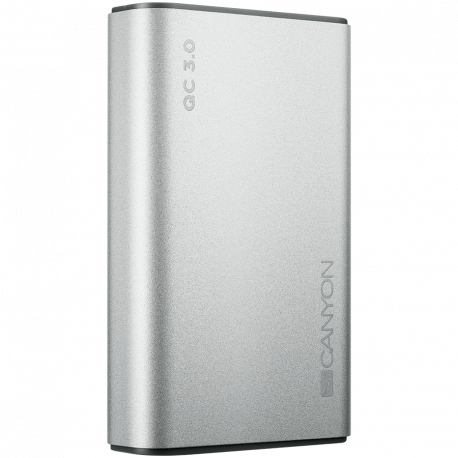 Power bank 10000mAh quick charge QC3.0 bulit in Lithium Polymer Battery Silver. Micro Input: 5V/2A