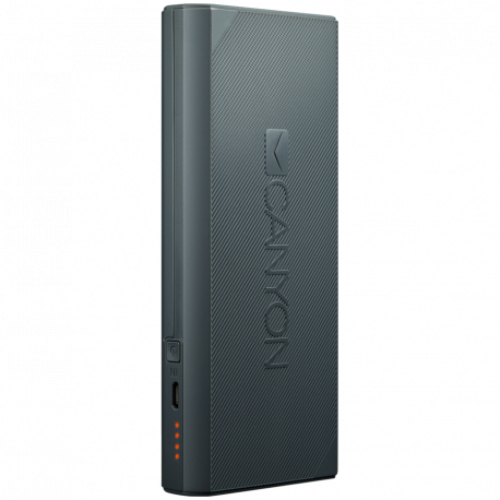 CANYON Power bank 13000mAh built-in Lithium-ion battery max output 5V2.4A input 5V2A. Dark Gray