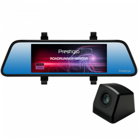 Car Video Recorder PRESTIGIO RoadRunner MIRROR (Front: FHD 1920x1080@30fps Rear: VGA640x480@30fps 6.86 inch screen MSC8328P