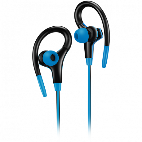 Canyon stereo sport earphones with microphone 1.2m flat cable blue