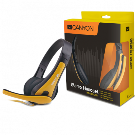 CANYON entry price PC headset combined 35 plug leather pads Black-yellow