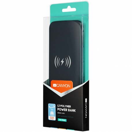 Power bank builted in wireless charger function Noveo 9060100/8000mAh Polymer input 5V/2A(Type C and Micro