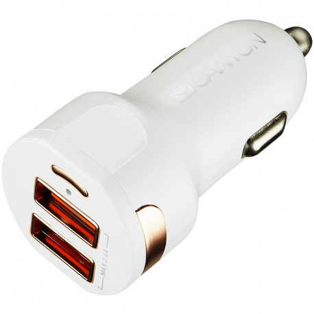 CANYON Universal 2xUSB car adapter Input 12V-24V Output 5V-2.4A with Smart IC white glossy with