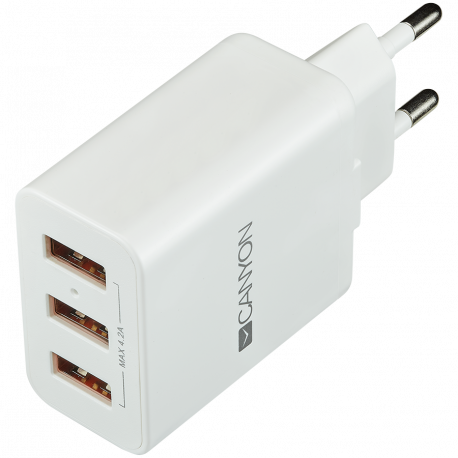 CANYON Universal 3xUSB AC charger (in wall) with over-voltage protection Input 100V-240V Output 5V-4.2A with