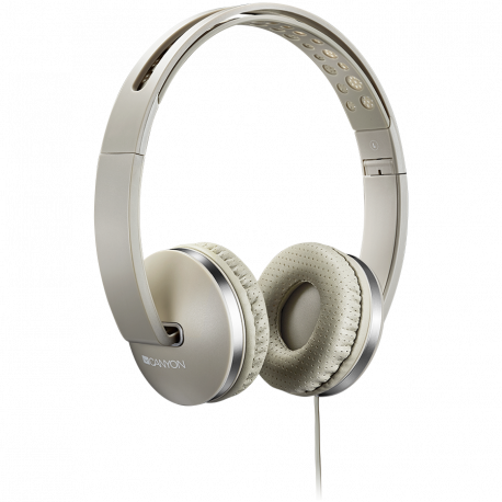 CANYON Stereo headphone with microphone and switch of answer/end phone call cable 1.2M Beige 175*70*175mm